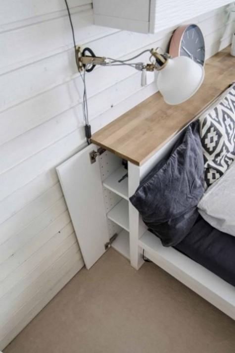 Aus einer IKEA Malm Kommode wurde ein stilvolles Kopfteil mit Holzplatte