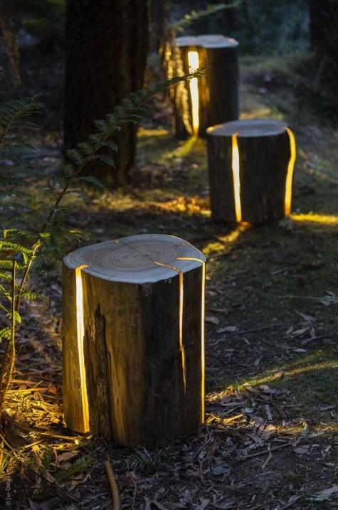 LED-Leuchten in Baumstümpfen für ein sehr natürliches Aussehen