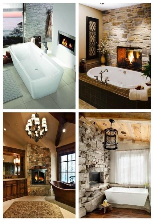 27 Faszinierende Badezimmerdesigns mit Kamin